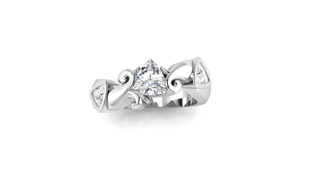 Trillion 3 Stone Engagement Ring