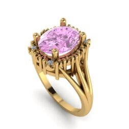Pink Sapphire Halo Engagement Ring