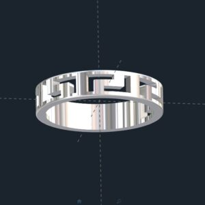 Greek Key Wedding Ring