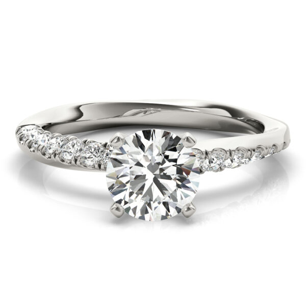 Asymmetrical French Pave Engagement Ring
