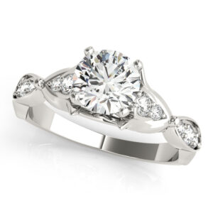 Floral Channel Set Engagement Ring