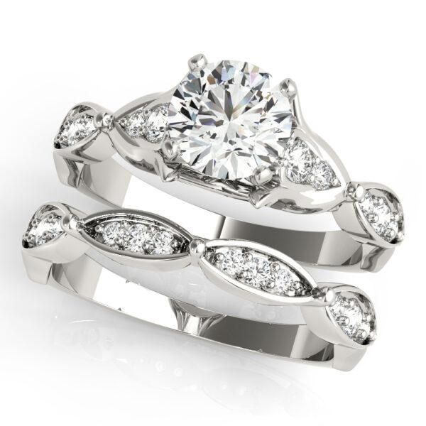 Floral Channel Set Engagement Ring