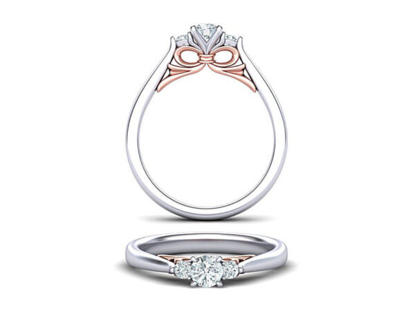 2 Tone 3 Stone Engagement Ring