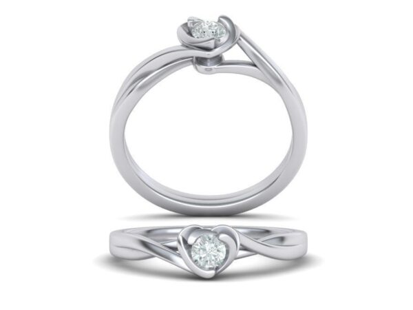 Sculptural Heart Solitaire Engagement Ring