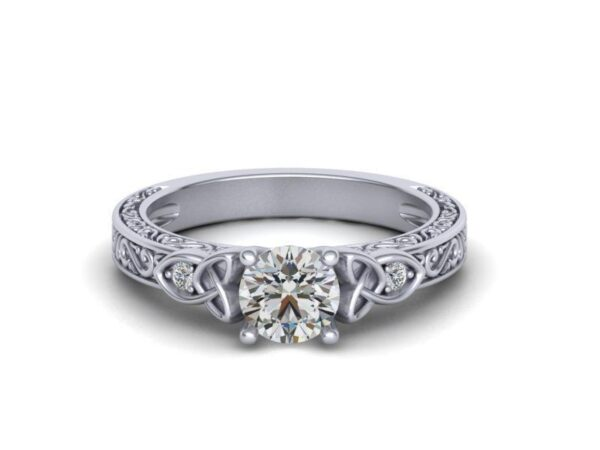 Scrolled Celtic Engagement Ring