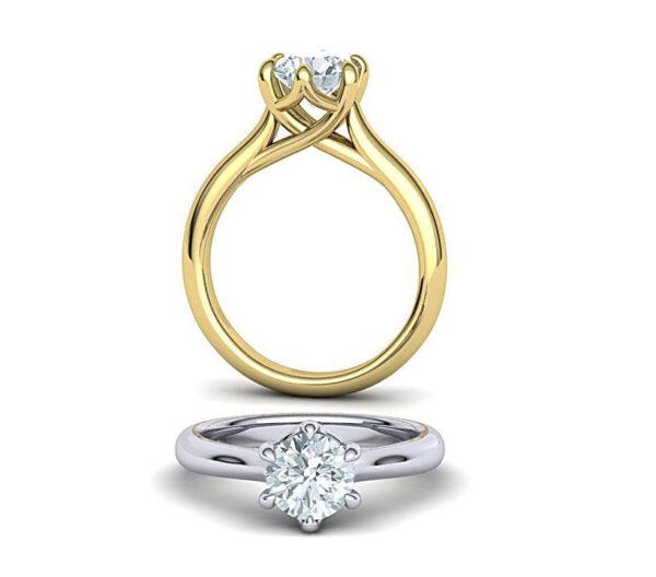 Six Prong Trellis Engagement Ring
