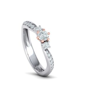 Bypass Three Stone Engagement Ring