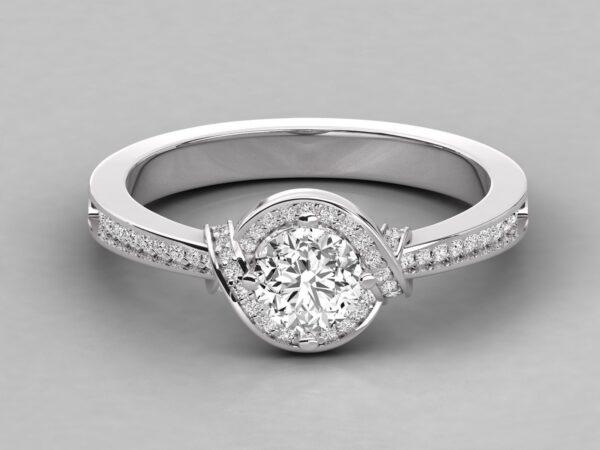 Criss Cross Halo Engagement Ring