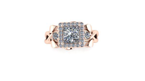 Princess Floral Halo Engagement Ring