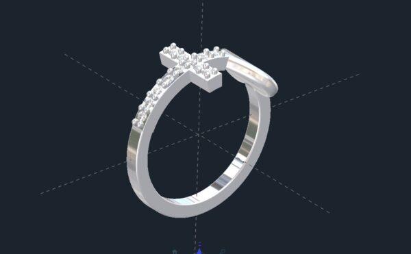 Diamond Heart & Cross Ring